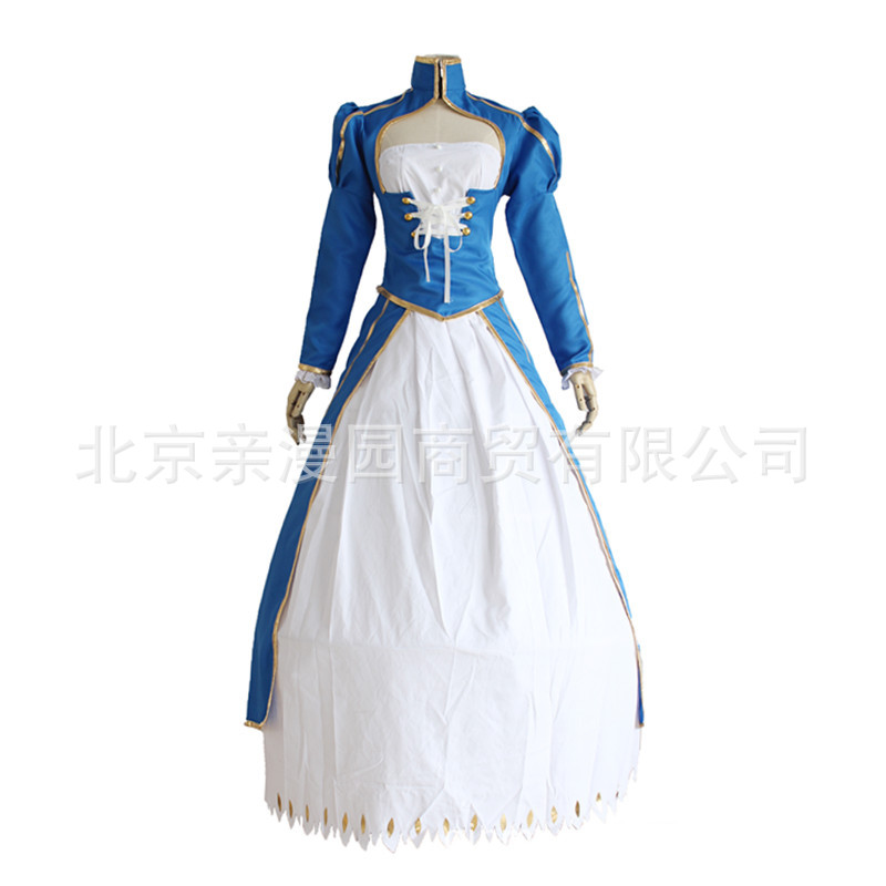 Fate/stay Night Anime Fate Zero Saber Cosplay Arturia Pendragon Blue White Fighting Suit Dress Costume Halloween Costumes