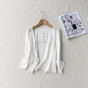 fc4f5a66c4de Ganchillo blanco verano chaqueta Giacca Donna elegante Koszula Damska Bluse  vestido sin mangas Ropa mujeres blusa camisa Tops