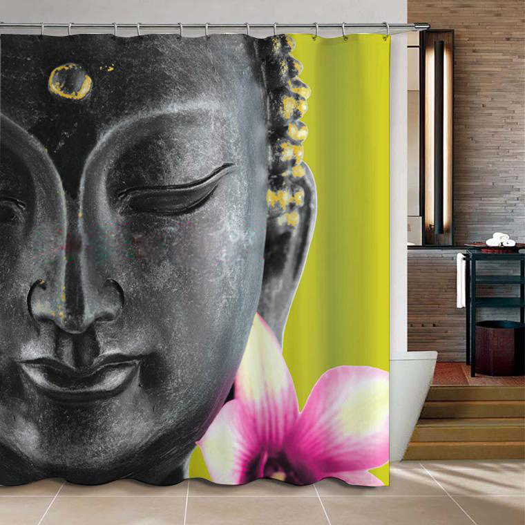 Amazing 180 X 180cm Buddha Shower Curtain Best Decal For Bathroom Waterproof
