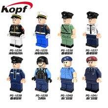 Corpo de Fuzileiros navais Da Unidade Policial militar Deveres Especiais Casaco Azul Branco Super Heróis Blocos de Construção do Modelo Brinquedos de Presente Crianças PG8062