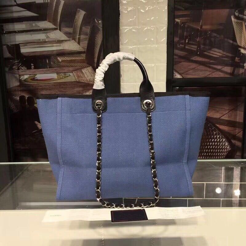 canvas women shopping bag neverfull famous brand tote with chain beach bag Paris full luxury handbag blue large size 38 cm