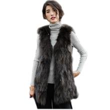 75cm New Genuine Raccoon Fur Vest Women long natural fur vest Winter thick Long Fox Fur vest customized big size Free Shipping