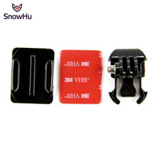 цена на SnowHu For GoPro Mount Helmet Curved Surfac +3M Sticker+Buckle Basic Curved Mounts for Go pro Hero 8 7 6 5 4 3 Xiaomi Yi 4K GP13
