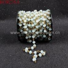 BOROSA tespih zinciri açık mavi doğal taş kristal kuvars faceted boncuklu altın kaplama gümüş renk zincir kolye JT035