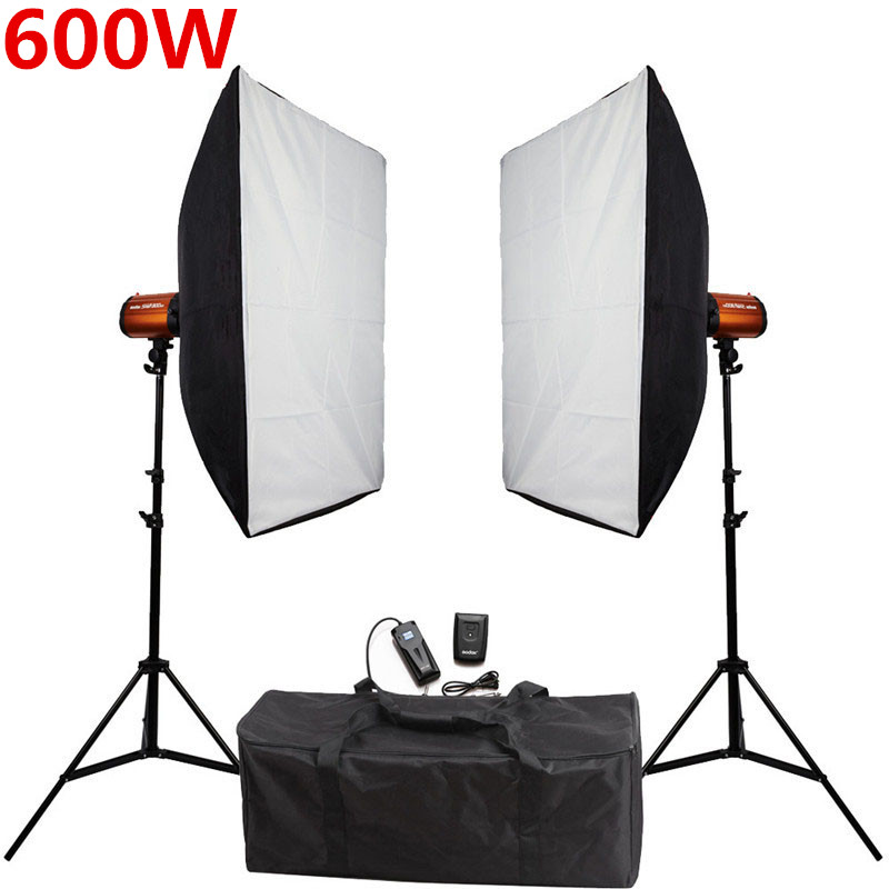 Godox Smart 300SDI Photography Studio Soft Box Flash Lighting Kits 600ws Strobe Light+Softbox Stand Set Photo Studio Accessories цена 2016