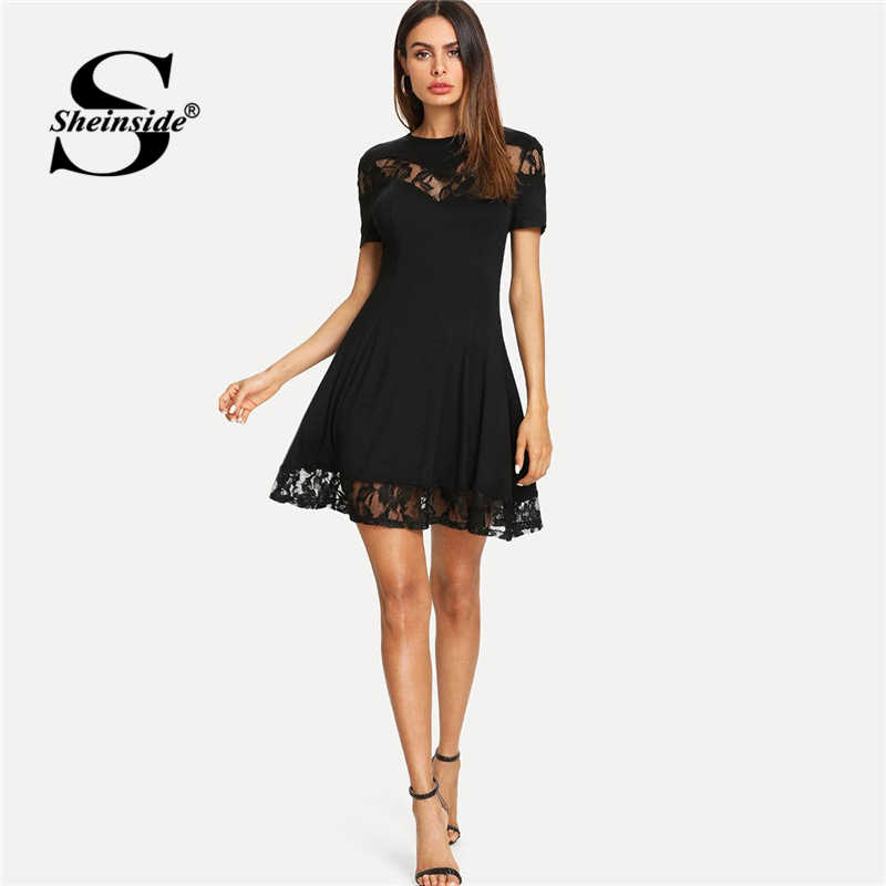 Sheinside Black Lace Insert Fit and Flare Mini Dress Elegant Women Short Sleeve Party Dresses 2019 Ladies A Line Summer Dress