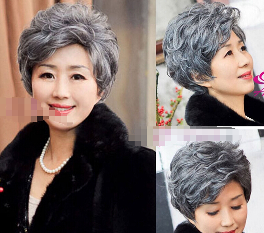0003394 New Fashion Mother Gift Curly Short Hair Full Wigs Old Women Gray Hair Wig