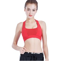 LANBAOSI 3Color Women's Push Up Sport Bra Strap Padded Breathable Fitness Yoga Workout Running Vest Tops Cross back
