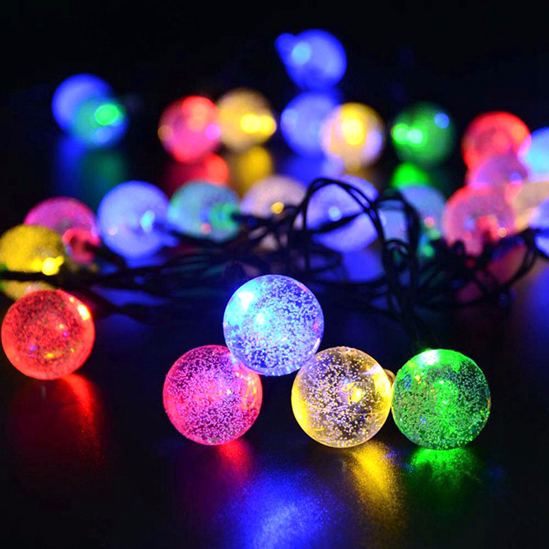 6M 30LED Lights Solar Powered Fairy Bubble Ball String Light Outdoor for Christmas Festival Garden Decorative Lamps -- J
