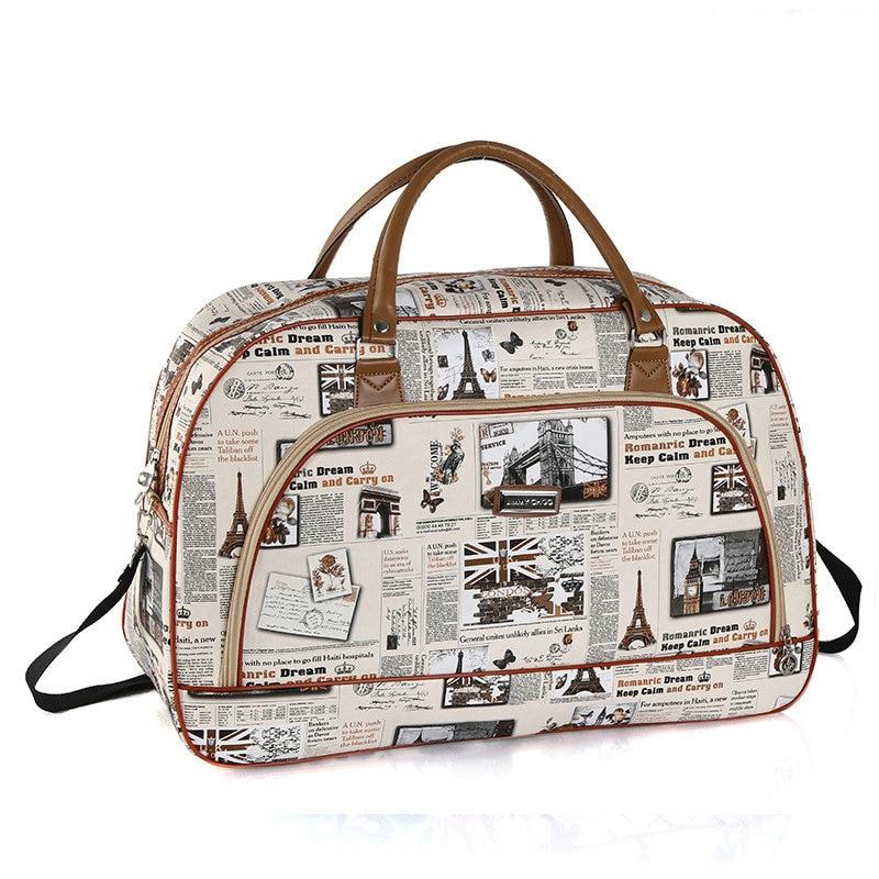 Women Waterproof Travel Bag Summer Women Bag Travel Duffel Bag Tower Beauty Lady Print Luggage Duffle Bag
