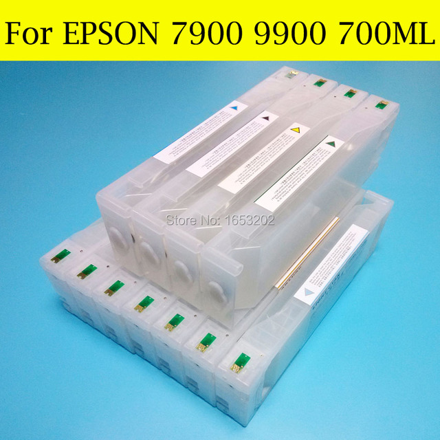 1 Set Empty Refill Ink Cartridges For Epson 7900 9900 Printer With Cartridge Chip And Maintenance Tank Chip Resetter