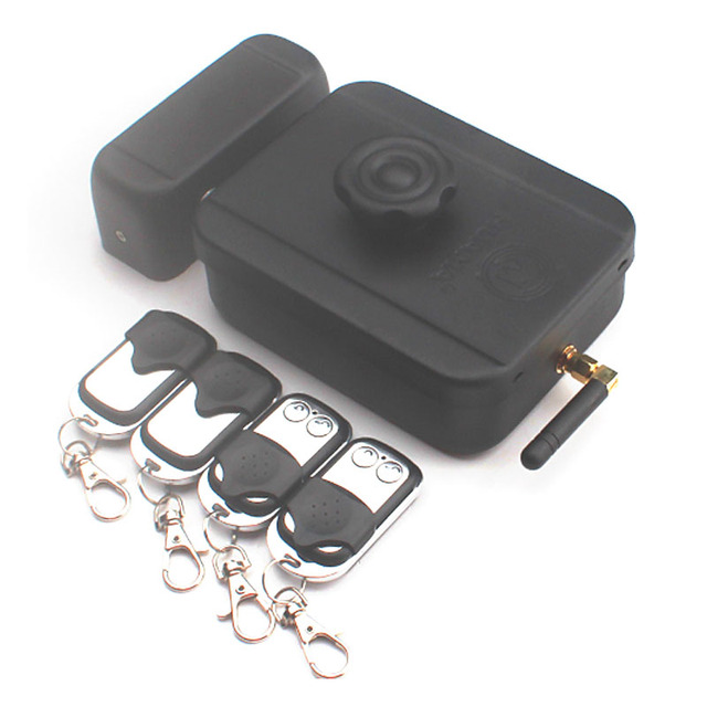 Wireless Remote Control Electronic Lock Invisible Keyless Entry Door Lock with 4 Remote Controllers Silver