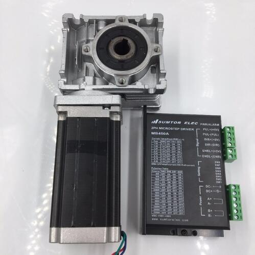 Nema23 Worm Gearbox Ratio 100:1 Hybrid 2phase Stepper Motor L112mm 4.2A Speed Reducer Driver Kit for Router MachineNema23 Worm Gearbox Ratio 100:1 Hybrid 2phase Stepper Motor L112mm 4.2A Speed Reducer Driver Kit for Router Machine