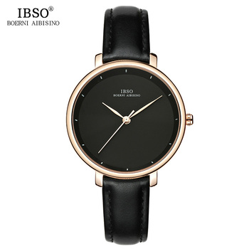 IBSO New Brand Fashion Simple Women Watches 2020 Green Genuine Leather Strap Ladies Quartz Watch Female Waterproof Montre Femme ibso 7 6mm ultra thin women watches 2018 fashion waterproof quartz watch women luxury genuine leather strap montre femme