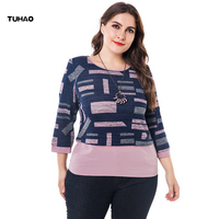 TUHAO 2018 Autumn Elegant Vintage Women Blouses Plus Size 6XL 5XL Loose Contracted Joker Tops Runway Large Size Shirts Top ZPZ