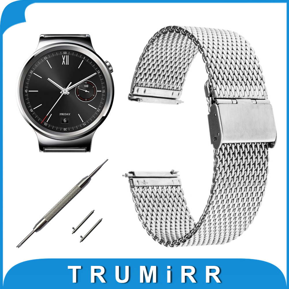 18mm Milanese Watchband Quick Release for Huawei Watch Band Mesh Stainless Steel Strap Wrist Belt Bracelet Black Silver + Tool stainless steel cuticle removal shovel tool silver