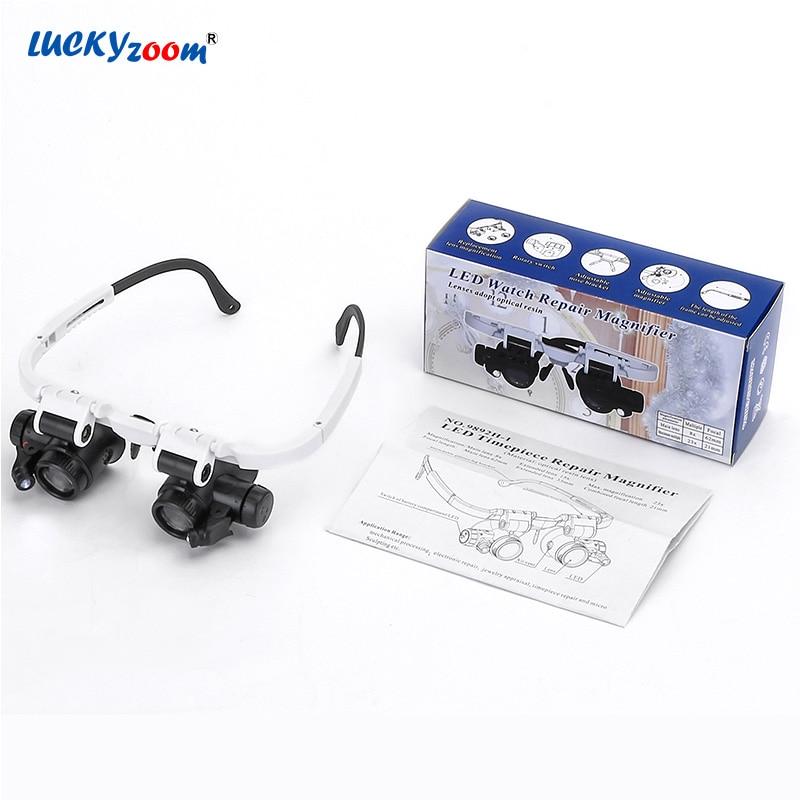 Headband Glasses Magnifier Magnifying Glasses Binocular LED Illuminated Magnifier Lamp 8X 15X 23X Repair Detector Jewelry Loupe