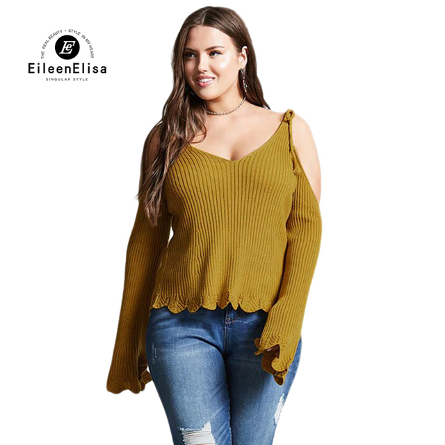 Eileen Elisa Fashion Sweaters Women Sexy Knitted V Neck Off Shoulder Sweater  Tops Winter 2018