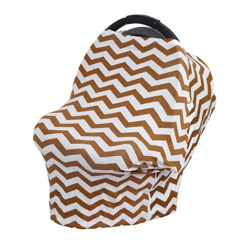 Striped Baby Car Seat Cover Multi-Use Towel Canopy Nursing Cover Stretchy Wave Scarf Breastfeeding Shopping Cart Cover 2 Colors