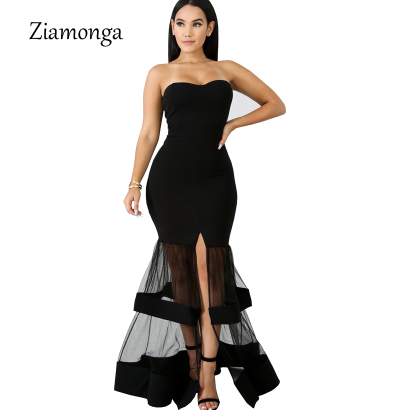 83cfb5b4d4 Ziamonga Strapless Mermaid Wedding Evening Party Dresses Sheer Mesh  Patchwork High Split Bodycon Maxi Formal Dress