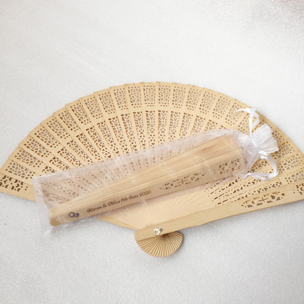 50pcs lot Engrave logo sandalwood Folding fan with organza bag personalized hand fans wedding favors