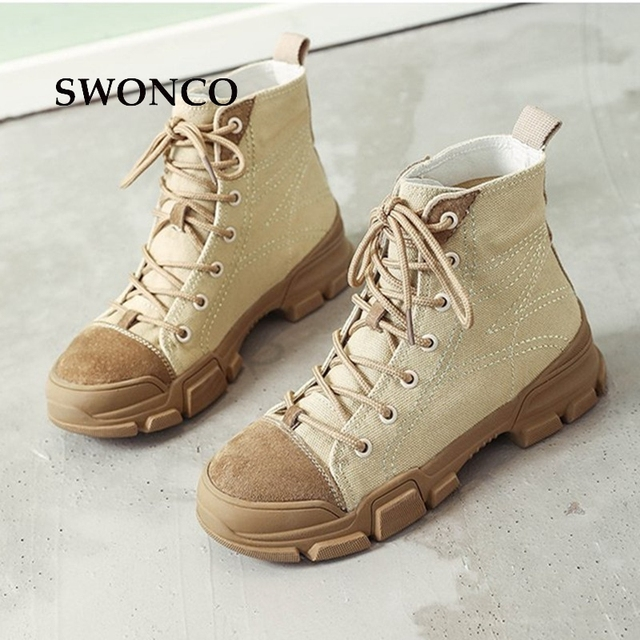 7eee24c74cb US $32.03 |SWONCO Women's Desert Boots 2018 Spring Autumn Canvas Shoes High  Top Sneakers Ankle Boots For Women Lace Up Non slip Woman Boot-in Ankle ...