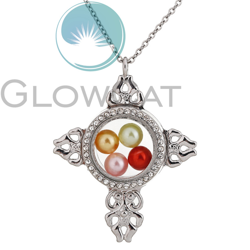 K1524 Silver Cross Magnetic Glass Locket Necklace Pearl Cage Floating Living Memory Pendant Photo Charm Necklace