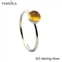 CKK 925 Sterling Silver November Droplet, Citrine Rings For Women Original European Style DIY Jewelry
