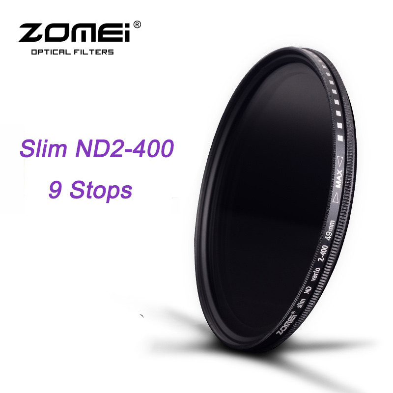 ZOMEI ND Fader Glass Slim ND2-400 Neutral Density Fading Control Adjustable Filter for DSLR Lens 49/52/55/58/62/67/72/77/82mm new 20in1 neutral density gradual nd2 nd4 nd8 nd16 filter kit 49 52 55 58 62 67 72 77 82mm for cokin p set slr dslr camera lens