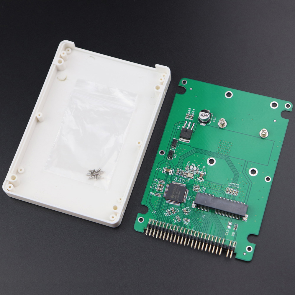 MSATA To 2.5 Inch PATA IDE 44 Pin SSD Solid State Drive Enclosure Adapter Converter Card With Case 9.5mm