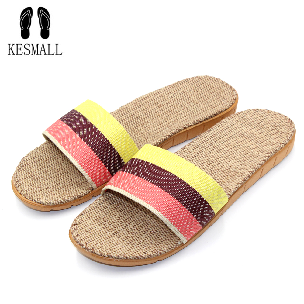 KESMALL 2017 Fashion Flax Home Slippers Indoor Floor Shoes Cross Belt Silent Sweat Slippers For Summer Women Sandals S13 vanled 2017 new fashion spring summer autumn 5 colors home plush slippers women indoor floor flat shoes free shipping
