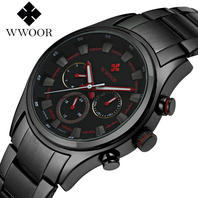 WWOOR Men Wrist Watch Clock Top Luxury Brand Quartz Watches Mens Analog Chronograph Sports Military Stainless Steel Wristwatch binger brand men watches military vogue leather self wind analog clock army mens sports wrist watch stainless steel buckle