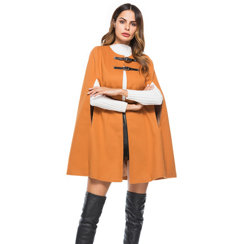 Frauen Leder Schnalle Umhang Poncho Mantel Jacke 2018 Herbst Winter ...