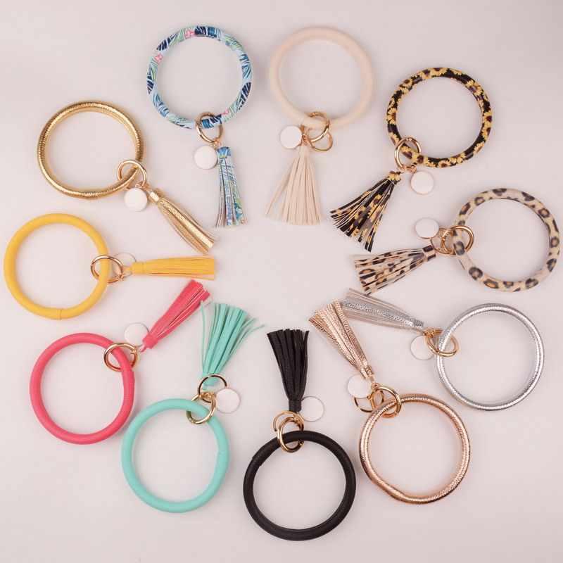 Nova moda multicolorido borla wristlet chaveiro esmalte couro do plutônio o chaveiro personalizado monograma círculo chaveiro para meninas