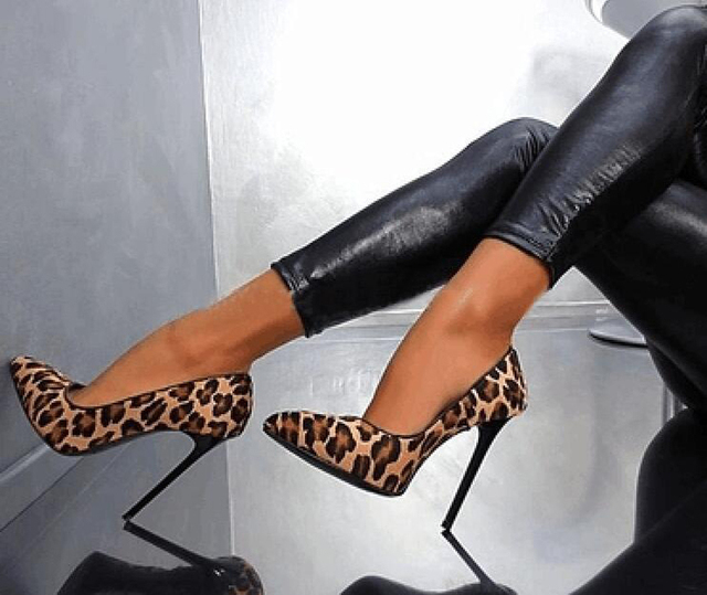 Hot Popular Women Ultra High Heels Leopard Print Pointed Toe Stilettos Slip  on Zapatos Mujer Fashion Women Party Shoes EU34-41 383db24ef1ae