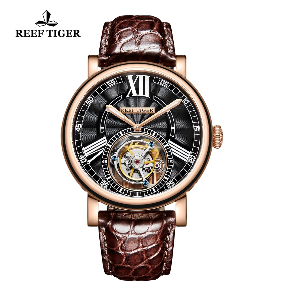 Reef Tiger/RT Luxury Casual Watches for Men Brown Alligator Strap Rose Gold Tourbillon Automatic Watches RGA1999