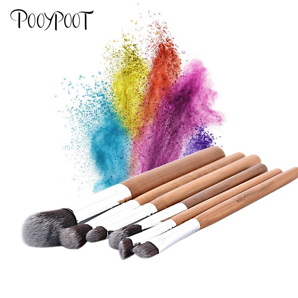Pooypoot 6pcs Makeup Brushes Natural Bamboo Eyeshadow Eyeliner Lip Brush Powder Foundation Tools For Beauty Essential Brush Set
