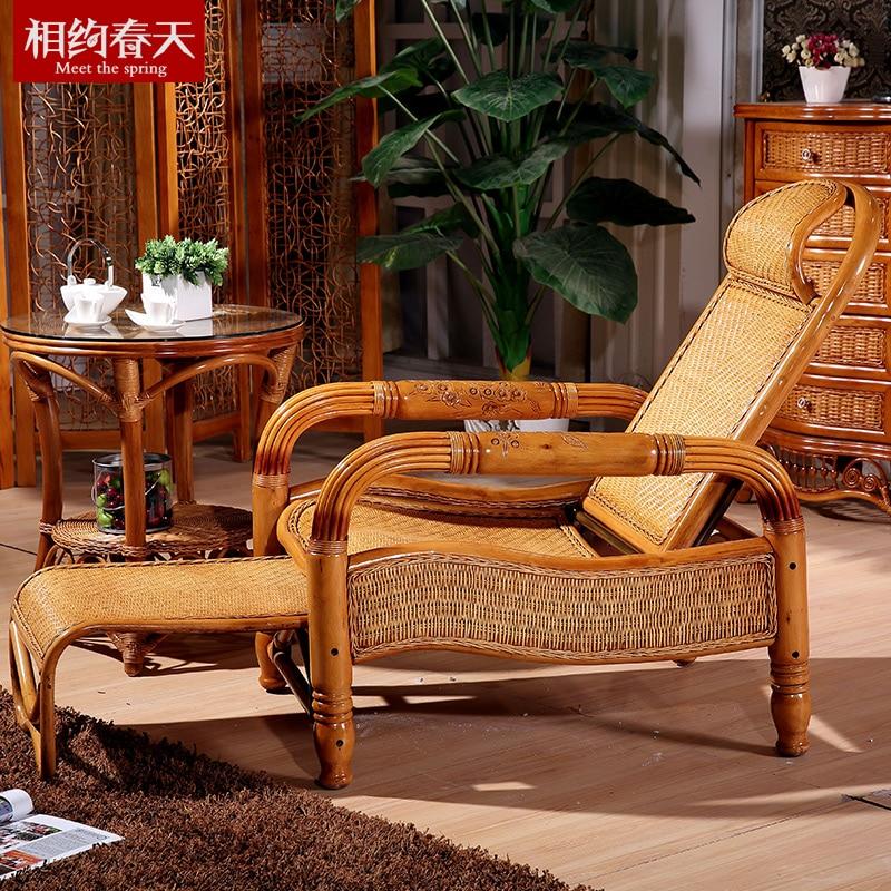 rattan wood lounge chair