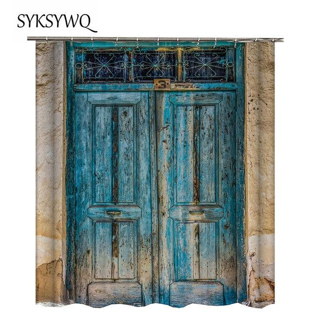 Farmhouse Shower Curtain Cloth Blue Bathroom Curtain Vintage Door