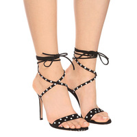 Summer Newest Women Black Suede Leather Crossed Tied Sandals White Pearls Embellished Polka Dot Ankle Lace Up High Heel Shoes