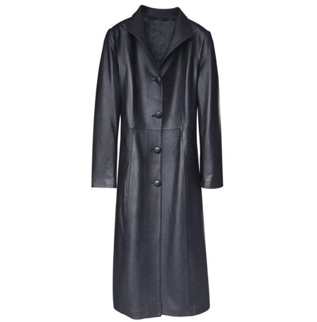 Unique De Femelle Oversize Tranchée Véritable En 2018 Poitrine Cuir Noir Mince Mode Peau Printemps Vers Femmes Outwear Mouton Le Bas Tournent AUwF85Uq