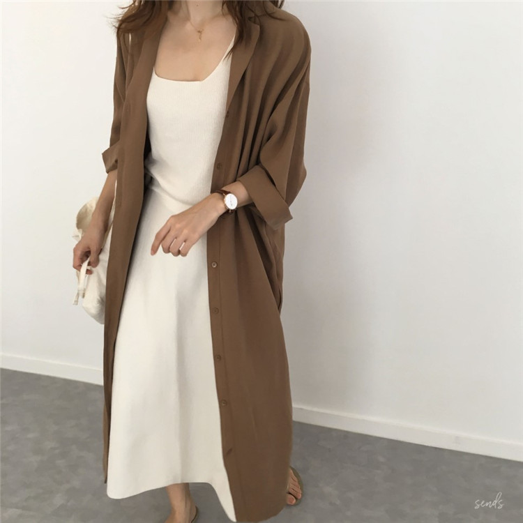 19 spring Autumn fashion female batwing sleeve solid shirt dress women blouses casual loose long big size shirts blusas 4