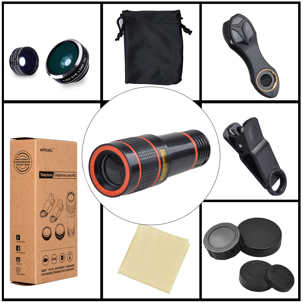 APEXEL 6IN1 phone camera lens 12X Telescope telephoto Zoom+fisheye wide angle macro Lens kit For iPhone7 6S plus Samsung s8 23