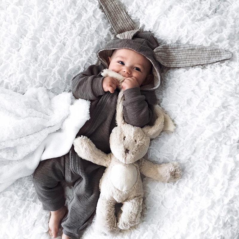Autumn Cotton Rabbit Ear Baby Rompers Newborn Boys Costume Girls Warm Clothes Jumpsuit Children Outerwear for 0-1 Years summer style short sleeve baby gentleman tie rompers love mama papa jumpsuit baby boys girls costume jeans newborn baby clothes