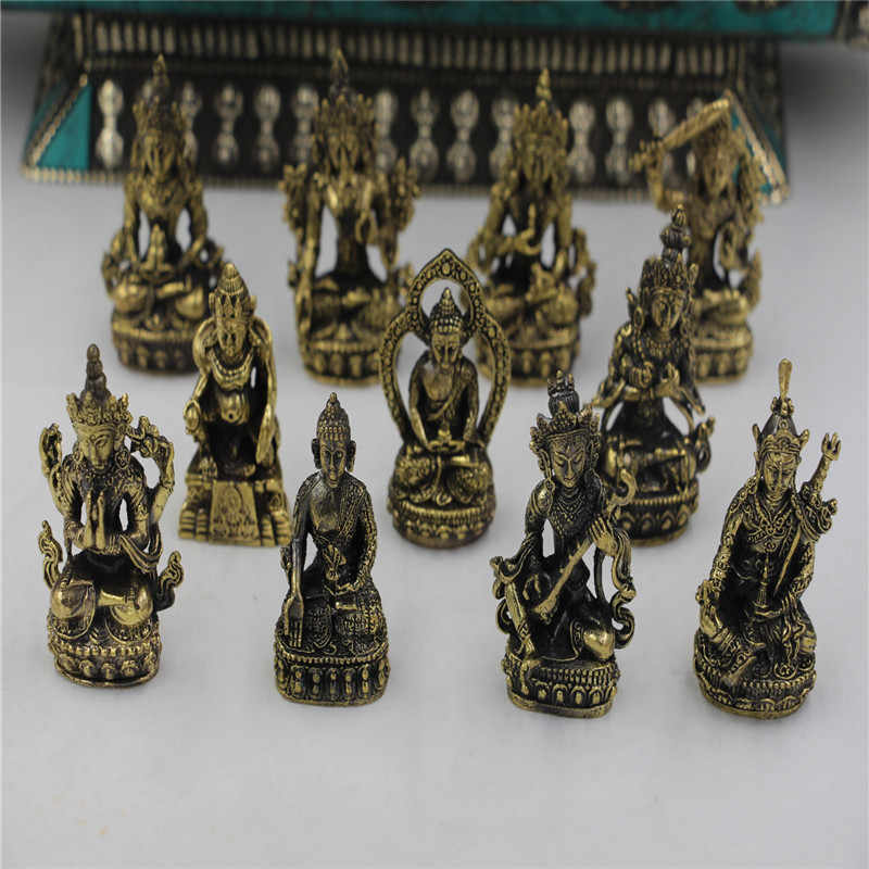 Handmade pure brass little Buddha statue Buddhist meditation mini craft pocket Buddha home decoration ornaments gift craft