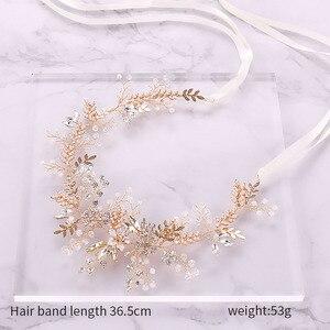 Image 2 - Модные повязки для волос Стразы с кристаллами для невесты повязка на голову с розовыми цветами и листьями Тиара головной убор Свадебные украшения для волос аксессуары SL