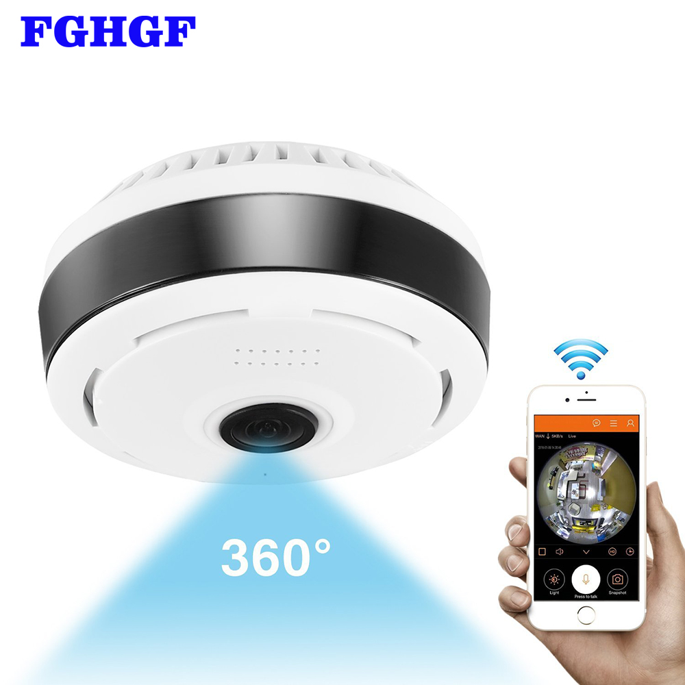 FGHGF Mini Wifi IP Camera 1080P 360 Degree Camera IP Fisheye Panoramic 2MP WIFI PTZ IP Cam Wireless Video Surveillance Camera
