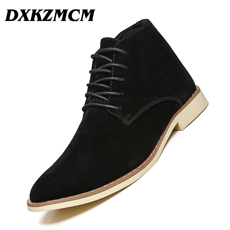 DXKZMCM Leather Men Boots Autumn Winter Ankle Boots Fashion Casual Footwear Lace Up Shoes Men High Quality Vintage Men Shoes new high quality casual boots men leather flats lace up men ankle boots winter autumn men s shoes casual short boots fashion