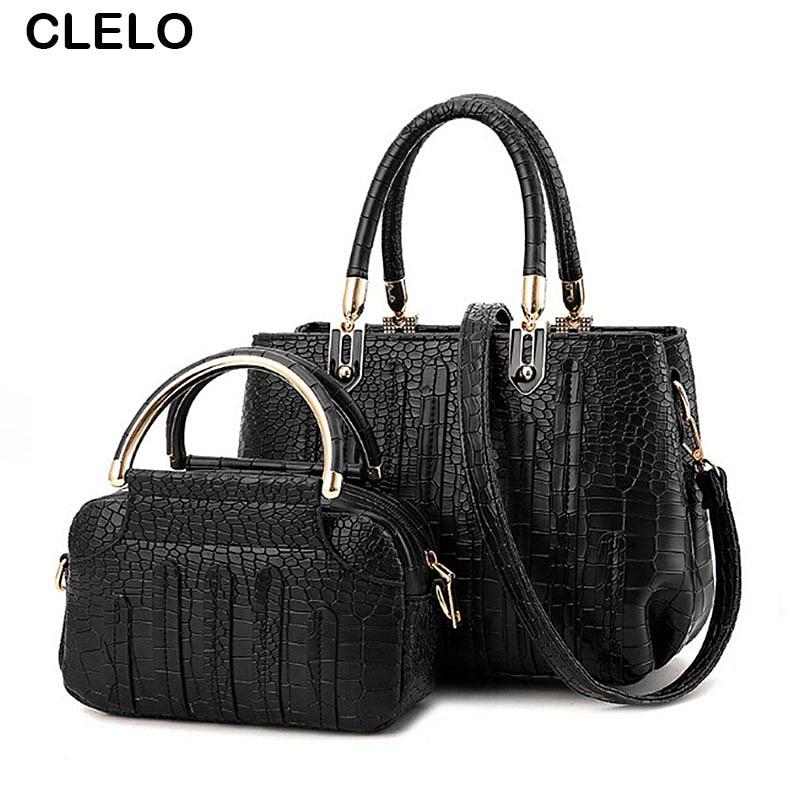 CLELO Brand New Composite Bags Women Luxury Alligator Bag High Quality Pu Leather Female Small Make Up Bag Ladies Handbag Set