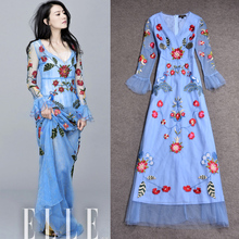 2017 Luxury Spring Summer Women's Fashion Fresh Flare Sleeve  V-neck Exquisite Embroidered Long Dress Runway Slim Mesh Dresses